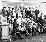 The Beatles 1967 Filming Magical Mystery Tour cast group photo before leaving Cornwall.<br /> &copy; Chris Walter