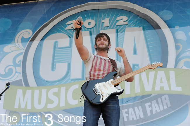 Thomas Rhett performs at the Riverfront Stage during the 2012 CMA Music Festival in Nashville, Tennessee.