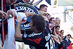 14 November 2004: Ben Olsen celebrates with DC's fans after the game. DC United defeated the Kansas City Wizards 3-2 to win MLS Cup 2004, Major League Soccer's championship game at the Home Depot Center in Carson, CA..