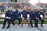 20 May 2014: U.S. coaching staff. From left: Brian Bliss, Russell Payne, Clint Peay, Dewan Bader, Brian O'Donnell. The Under-20 United States Men's National Team played a scrimmage against a team composed of players from the Carolina RailHawks and the Capital Area RailHawks Academy Under-18 squad WakeMed Stadium in Cary, North Carolina. The combined RailHawks team won the game 2-1.