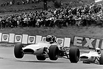 Mike Beuttler's  Clarke Mordaunt Racing Brabham BT28 <br /> airborne at the mountain at Cadwell Park in 1970.<br /> <br /> <br /> BRSCC MotorSport - Shell Super Oil British F3 Championship, Rd 10<br /> M.C.D. Lombank British F3 Championship, Rd 9<br /> Championnat de France Rd 13