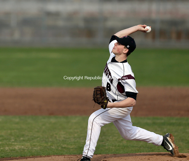 Torrington, CT- 12 April 2017-041217CM04- Torrington's Jake Reynolds delivers a pitch during their NVL baseball matchup against Oxford on Wednesday.    Christopher Massa Republican-American