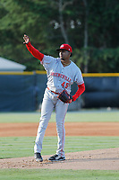 Greeneville Reds pitcher Alexis Diaz (45) on the mound against the Burlington Royals at the Burlington Athletic Complex on July 7, 2018 in Burlington, North Carolina. Burlington defeated Greeneville 2-1. (Robert Gurganus/Four Seam Images)