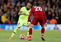Barcelona's Arturo Vidal looks to take on Liverpool's Andrew Robertson<br /> <br /> Photographer Rich Linley/CameraSport<br /> <br /> UEFA Champions League Semi-Final 2nd Leg - Liverpool v Barcelona - Tuesday May 7th 2019 - Anfield - Liverpool<br />  <br /> World Copyright © 2018 CameraSport. All rights reserved. 43 Linden Ave. Countesthorpe. Leicester. England. LE8 5PG - Tel: +44 (0) 116 277 4147 - admin@camerasport.com - www.camerasport.com