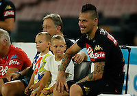 Marek Hamsik  and her son  during the friendly soccer match,between SSC Napoli and Onc Nice      at  the San  Paolo   stadium in Naples  Italy , August 02, 2016