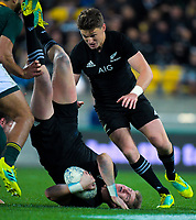 Jordie Barrett is upended as brother Beauden arrives in support during the Rugby Championship match between the New Zealand All Blacks and South Africa Springboks at Westpac Stadium in Wellington, New Zealand on Saturday, 15 September 2018. Photo: Dave Lintott / lintottphoto.co.nz
