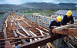 JEANNIE JOHNSTON SHIP-TRALEE.Boat builders Morten Jensen and Brian MacElligott checking ther stern post on the Jeanie Johnston ship at Blennerville, Tralee yesterday..Picture by Don MacMonagle