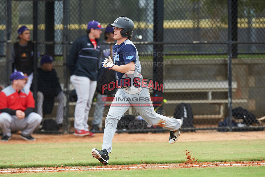 Hayes Hinson (12) of Meridian, Mississippi during the Baseball Factory All-America Pre-Season Rookie Tournament, powered by Under Armour, on January 13, 2018 at Lake Myrtle Sports Complex in Auburndale, Florida.  (Michael Johnson/Four Seam Images)