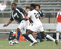 04 September 2009: Bright Dike #9 of the University of Notre Dame breaks away from Ike Opara #23 of Wake Forest University during an Adidas Soccer Classic match at the University of Indiana in Bloomington, In. The game ended in a 1-1 tie..