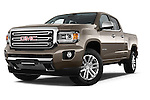 Stock pictures of low aggressive front three quarter view of a 2015 GMC Canyon Slt 4 Door Pickup 2WD Low Aggressive