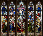 Stained glass east window of Crucifixion c1891 J Hardman, Aldeburgh church, Suffolk, England, UK