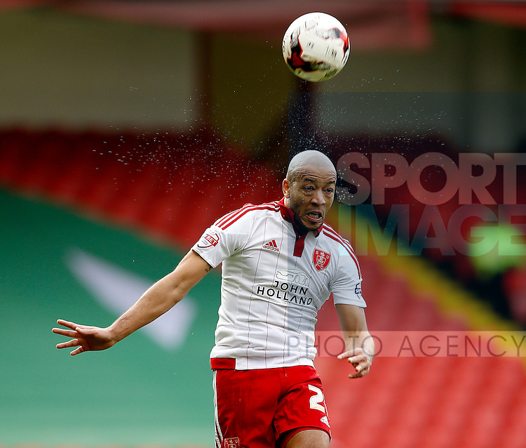 Alex Baptiste of Sheffield Utd heads the ball clear during the Sky Bet League One match at The Bramall Lane Stadium.  Photo credit should read: Simon Bellis/Sportimage