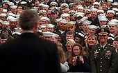 United States President George W. Bush speaks to sailors and other members of the military at NATO ACLANT headquarters at the Norfolk Naval Air Station on February 13, 2001 in Norfolk, Virginia. President Bush visited several military bases last week to reaffirm his commitment to improve living conditions for the people who serve in America's armed forces.   <br /> Mandatory Credit: Paul Morse / White House via CNP