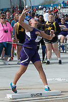 Brentwood High School junior Sophia Rivera throws the shot on her way to victory in the shot put with a best toss of 47-3.50 to put her eighth on the U.S. national performance list, at the 2015 Kansas Relays in Lawrence, Ks. Friday, April 17.