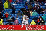 Real Madrid CF's Vinicius Jr qnd Real Madrid CF's Karim Benzema during La Liga match. Aug 24, 2019. (ALTERPHOTOS/Manu R.B.)