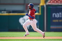 Buffalo Bisons center fielder Dalton Pompey (23) running the bases during a game against the Lehigh Valley IronPigs on August 28, 2016 at Coca-Cola Field in Buffalo, New York.  Lehigh Valley defeated Buffalo 5-2.  (Mike Janes/Four Seam Images)