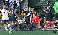 Allston, Massachusetts - July 17, 2016:  In a National Women's Soccer League (NWSL) match, Sky Blue FC (blue) defeated Boston Breakers (white/blue), 3-2, at Jordan Field.<br /> <br /> Goal score and celebration.