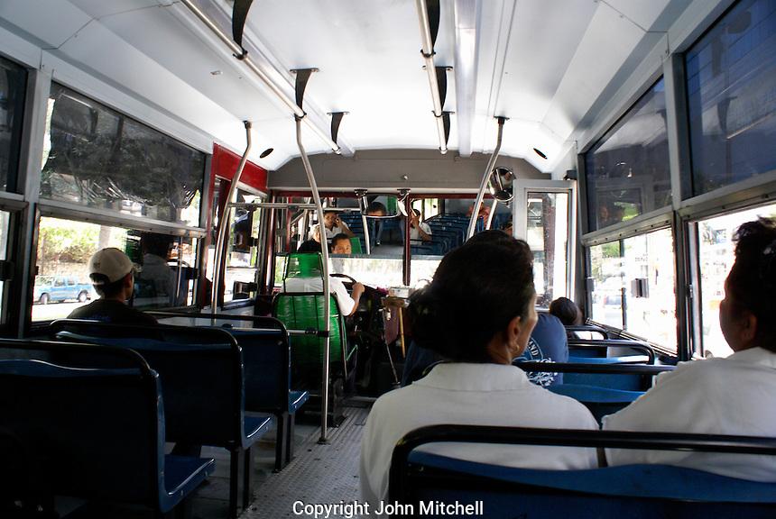 Interior of a public bus in Acapulco, Guerrero,  Mexico