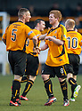 Alloa's Ryan McCord (8) is congratulated by Darryl Meggatt after he scores their first goal.