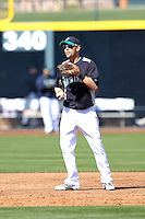 Jack Wilson #2 of the Seattle Mariners plays in a spring training game against the San Diego Padres at Peoria Stadium on February 27, 2011  in Peoria, Arizona. .Photo by:  Bill Mitchell/Four Seam Images.