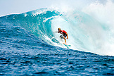 INDONESIA, Mentawai Islands, Kandui Resort, young man surfing in the barrel, Bankvaults