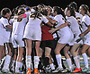 Massapequa teammates celebrate after their 3-2 win over Port Washington in the Nassau County varsity girls' soccer Class A final at Cold Spring Harbor High School on Tuesday, November 3, 2015.<br /> <br /> James Escher