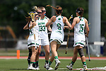 RICHMOND, VA - APRIL 27: Notre Dame's Molly Cobb (22) celebrates her goal with Heidi Annaheim (14), Samantha Lynch (33), Sydney Cardozo (9), and Cortney Fortunato (15). The Notre Dame Fighting Irish played the Boston College Eagles on April 27, 2017, at Sports Backers Stadium in Richmond, VA in an ACC Women's Lacrosse Tournament quarterfinal match. Boston College won the game 17-14.