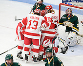 The Terriers celebrate Jill Cardella's (BU - 22) goal. - The Boston University Terriers tied the visiting University of Vermont Catamounts 2-2 on Saturday, November 13, 2010, at Walter Brown Arena in Boston, Massachusetts.