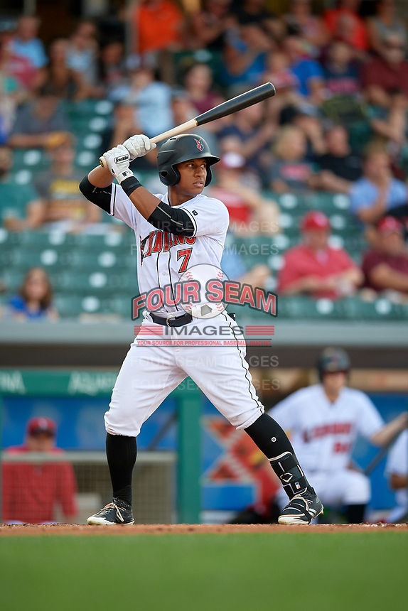 Indianapolis Indians center fielder Christopher Bostick (7) at bat during a game against the Rochester Red Wings on July 24, 2018 at Victory Field in Indianapolis, Indiana.  Rochester defeated Indianapolis 2-0.  (Mike Janes/Four Seam Images)