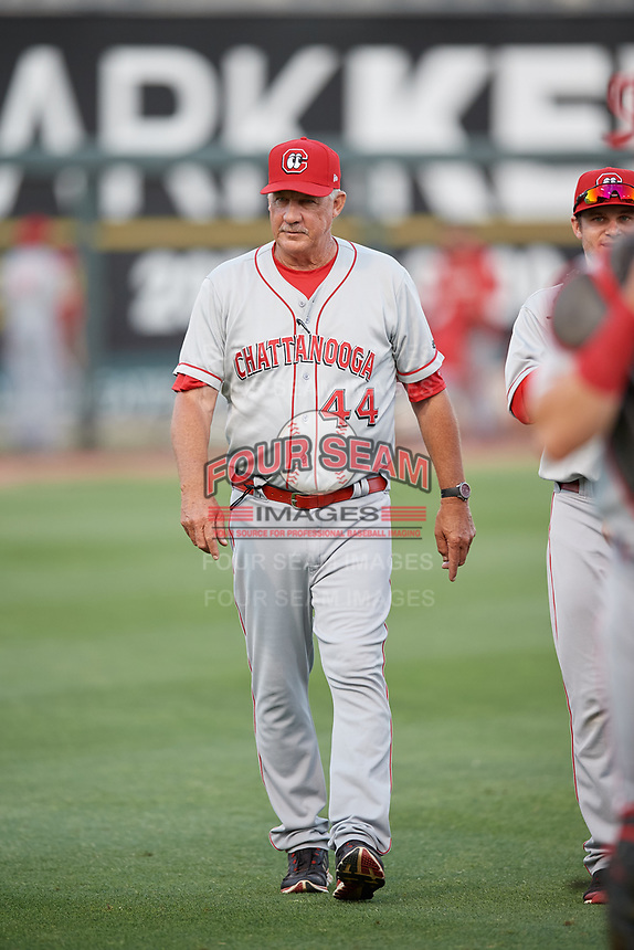 Chattanooga Lookouts pitching coach Danny Darwin (44) before a Southern League game against the Birmingham Barons on May 2, 2019 at Regions Field in Birmingham, Alabama.  Birmingham defeated Chattanooga 4-2.  (Mike Janes/Four Seam Images)