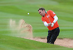 Wales Phillip Glenister hits a shot out of the bunker <br /> <br /> Golf - Day 1 - Celebrity Cup - Saturday 4th July 2015 - Celtic Manor Resort  - Newport<br /> <br /> &copy; www.sportingwales.com- PLEASE CREDIT IAN COOK