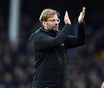 Liverpool Manager Jurgen Klopp thanks the fans at the end of the premier league match at Goodison Park Stadium, Liverpool. Picture date 7th April 2018. Picture credit should read: Robin Parker/Sportimage