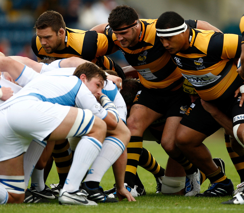 Photo: Richard Lane/Richard Lane Photography. London Wasps v Glasgow Warriors. Pre Season Friendly. 28/08/2010. Wasps' front row (lt to rt), Ben Broster , Rob Webber and Zak Taulafo.