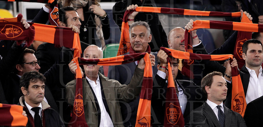 Calcio, Serie A: Roma vs Lazio. Roma, Stadio Olimpico, 8 aprile 2013..AS Roma president James Pallotta, of the United States, on the stand prior to the start of the Italian serie A football match between A.S. Roma  and Lazio at Rome's Olympic stadium, 8 april 2013..UPDATE IMAGES PRESS/Isabella Bonotto
