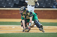 Notre Dame Fighting Irish catcher Jack Alexander (8) chases after the ball during the game against the Wake Forest Demon Deacons at David F. Couch Ballpark on March 10, 2019 in  Winston-Salem, North Carolina. The Demon Deacons defeated the Fighting Irish 7-4 in game one of a double-header.  (Brian Westerholt/Four Seam Images)