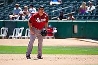 Hunter Morris (25) of the Nashville Sounds on defense against the Salt Lake Bees at Smith's Ballpark on June 22, 2014 in Salt Lake City, Utah.  (Stephen Smith/Four Seam Images)