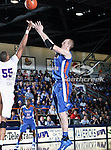 Texas-Arlington Mavericks center Stuart Lagerson (5) in action during the game between the Stephen F. Austin Lumberjacks and the UTA Mavericks held at the University of Texas at Arlington's, Texas Hall, in Arlington, Texas.  UTA defeats Stephen F. Austin  66 to 65 in overtime.