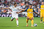 Real Madrid's Luka Modric and Apoel's Lorenzo Ebecillo during UEFA Champions League match between Real Madrid and Apoel at Santiago Bernabeu Stadium in Madrid, Spain September 13, 2017. (ALTERPHOTOS/Borja B.Hojas)