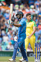 Shikhar Dhawan (India) acknowledges his half century during India vs Australia, ICC World Cup Cricket at The Oval on 9th June 2019