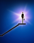 Illustrative image of businessman standing on stairway representing victory