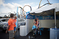 Tom Dumoulin (NLD/Giant-Alpecin) warming up with the rollercoaster behind him in full action (in Kings Dominion theme Park, where the start was)<br /> <br /> Elite Men TT<br /> UCI Road World Championships / Richmond 2015