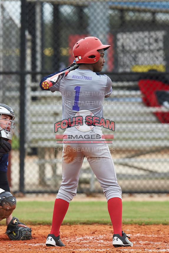 Kendrick Curry II (1) of Washington, DC during the Baseball Factory All-America Pre-Season Rookie Tournament, powered by Under Armour, on January 13, 2018 at Lake Myrtle Sports Complex in Auburndale, Florida.  (Michael Johnson/Four Seam Images)