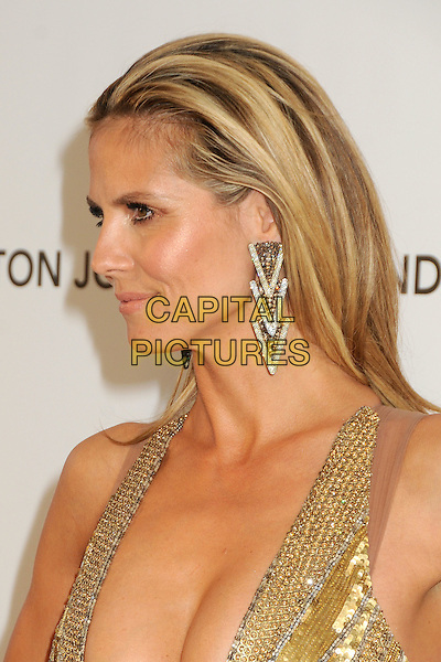 Heidi Klum .21st Annual Elton John Academy Awards Viewing Party held at West Hollywood Park, West Hollywood, California, USA..February 24th, 2013.oscars headshot portrait gold diamante sequins sequined beads beaded art deco dangling earrings side profile hair slicked back.CAP/ADM/BP.©Byron Purvis/AdMedia/Capital Pictures.