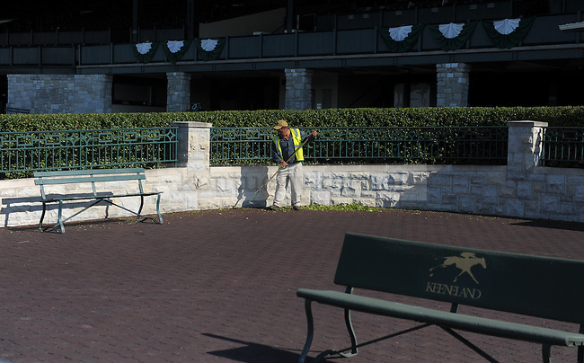 Preparations are made for the opening day as they clean out the Winner's Circle at Keeneland Race Course in Lexington, Ky., on 10/5/11.  Photo by Mike Weaver | Staff