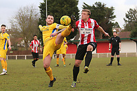 Sam Collins of Canvey and George Purcell of Hornchurch during AFC Hornchurch vs Canvey Island, Bostik League Division 1 North Football at Hornchurch Stadium on 10th March 2018