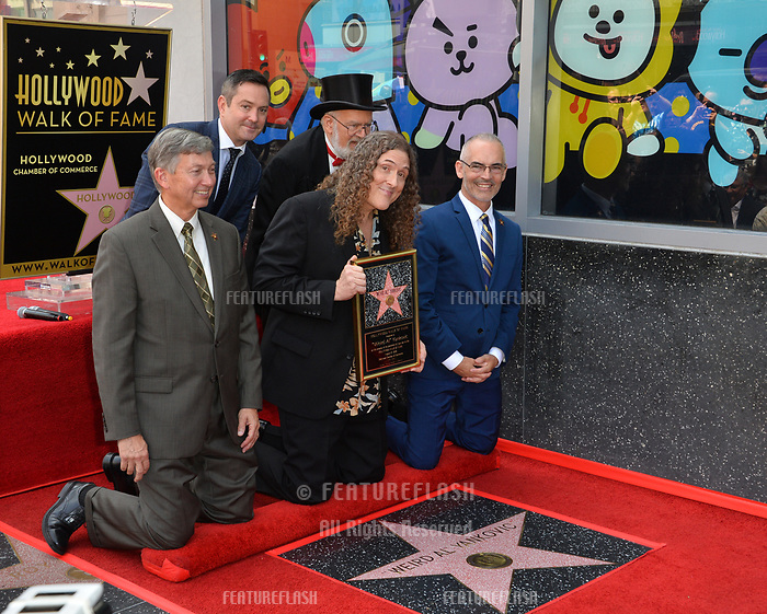 LOS ANGELES, CA. August 27, 2018: Weird Al Yankovic, Dr. Demento, Thomas Lennon, Mitch O'Farrell & Leon Gubler at the Hollywood Walk of Fame Star Ceremony honoring 'Weird Al' Yankovic.
