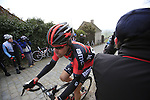 Daniel Oss (ITA) BMC Racing Team at the top of the cobbled climb of Paterberg during the 56th edition of the E3 Harelbeke, Belgium, 22nd  March 2013 (Photo by Eoin Clarke 2013)