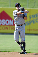 Huntsville Stars second baseman Scooter Gennett #2 throws to first during a game against the Tennessee Smokies at Smokies Park on August 12, 2012 in Kodak, Tennessee. The Smokies defeated the Stars 4-0. (Tony Farlow/Four Seam Images).
