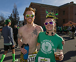 Salty McHooligan and Brittany after the 7th annual Leprechaun Race in downtown Reno, Nevada on Sunday, March 17, 2019.