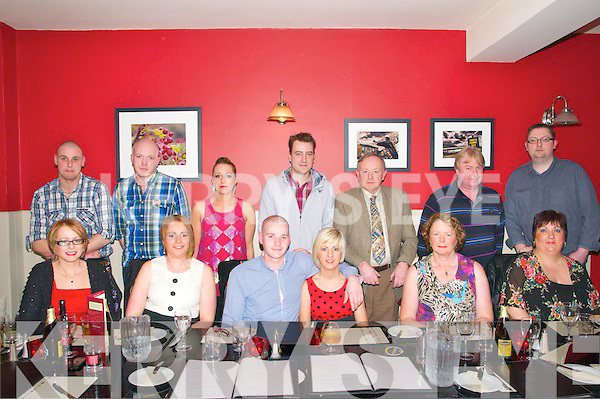 Leaving Party : Gerard Horgan & Mairead Kennelly, Knockanure celebrating a night out with family prior to thrir departure for Austarlia at Fitzgeralds Restaurant, Listowel on Friday night last. Front : Catherine Butler, Elaine Brew, Gerard Horgan, Mairead Kennelly, Margaret Horgan & Joan Kennelly. Back : Brendan Brew, Richard Horgan, Mags Horgan, Keith Butler, Tony Horgan, Maurice Heffernan & Mike Slemon.